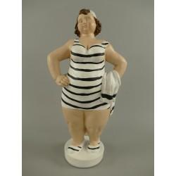 Strandvrouw - gestreept - staand - 40 cm