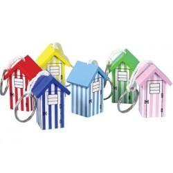 Schlüsselanhänger Holz Strandhaus (6 sortiert)