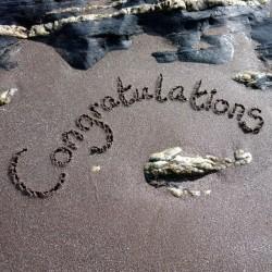 Postcard Sand - Congratulations
