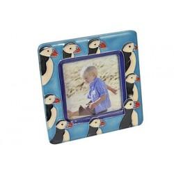 Photo frame puffin ceramics