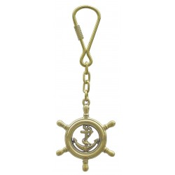 Keychain brass anchor in steering wheel