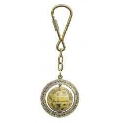 Keychain brass globe