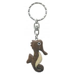 Porte-clés hippocampe bois