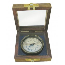Sundial compass brass in box antique look