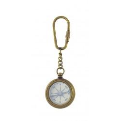 Sleutelhanger kompas messing antiek look