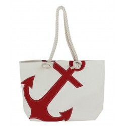 Beach bag with anchor natural/red cotton