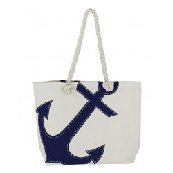 Beach bag with anchor natural/blue cotton