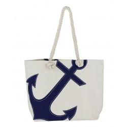 Strandtasche mit Anker Natur/blau baumwolle