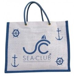 Jute bag white/blue