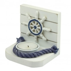 Tea light holder steering wheel blue/white (last pieces)