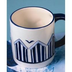 Becher Strand Haus blau Porzellan