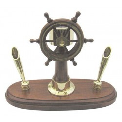 Pen holder steering wheel compass brass