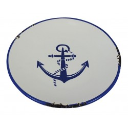 Breakfast plate anchor ceramic enamel look