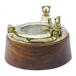 Ashtray porthole wood/brass