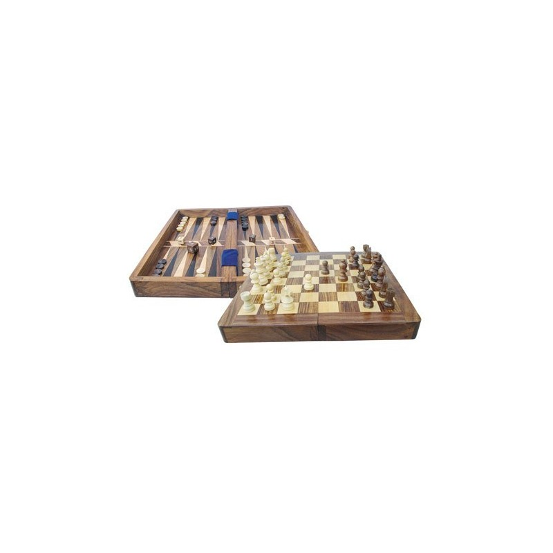 Chess and backgammon in box