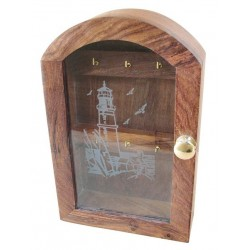 Key cabinet wood Lighthouse engraving in glass