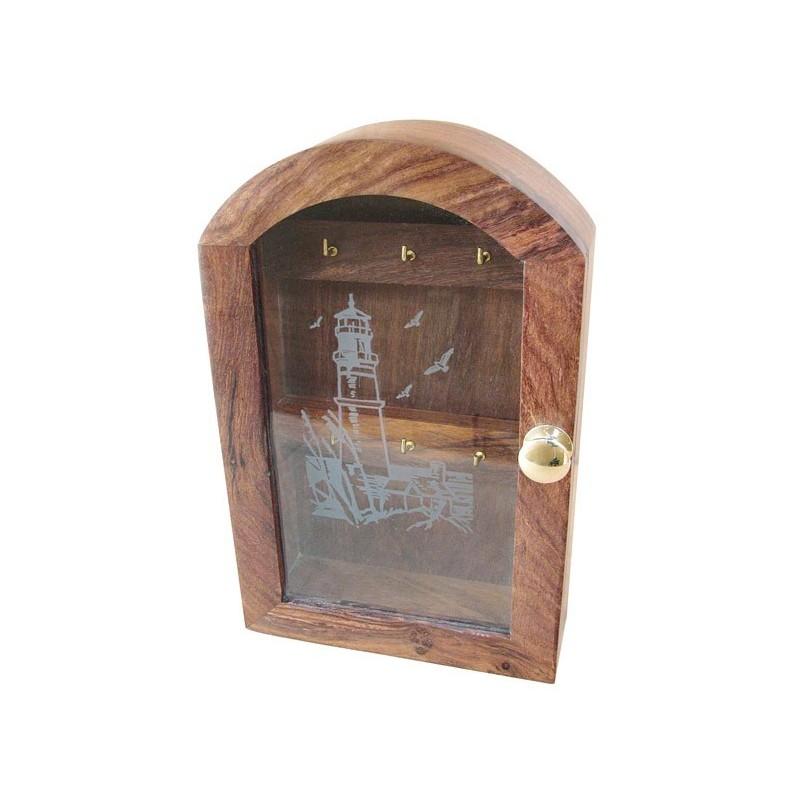 Schlüsselschrank Holz Leuchtturm Gravur in Glas - Nautic-Gifts