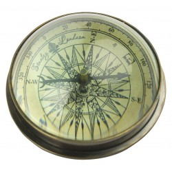 Kompas met bol loep ø: 8 cm messing antiek