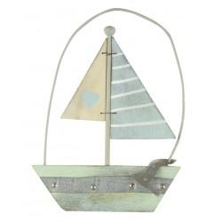 Hanging Décor zeilboot Pastel Art aan koord 10 cm