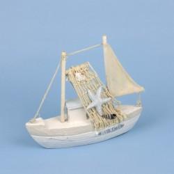 Vissersboot Boot Décor met net en zeester 21 x 19 cm