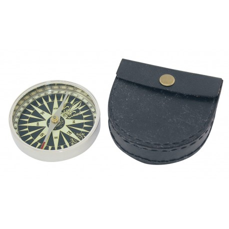 Kompas, vernikkeld messing, Ø: 7,3cm, H: 1,3cm, met lederen case