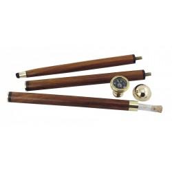 Spazierstock mit Kompass & Glasrohr Holz/Messing
