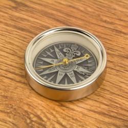 Kompass Windrose Silber 5 cm