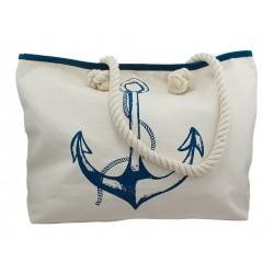 Beach bag with blue anchor cotton 50 x 12 x 34 cm