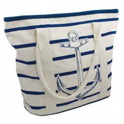 Shopping bag striped with blue anchor cotton 48 x 16 x 37 cm