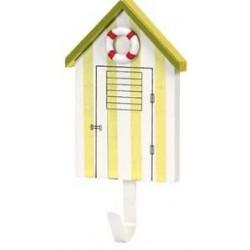 Kapstokhaak strandhuis gestreept geel - 16 cm