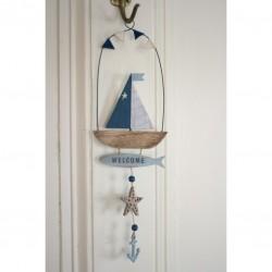 Hanging Décor sailing boat starfish 36 x 12 cm