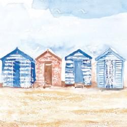 Ansichtkaart Coastal Range strandhuisjes 14 x 14 cm