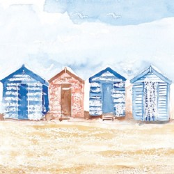 Postcard Coastal Range beach houses 14 x 14 cm