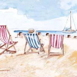 Postkarte Coastal Range Strand Stühle 14 x 14 cm