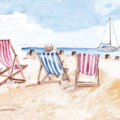 Ansichtkaart Coastal Range strandstoelen 14 x 14 cm