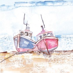Postcard Coastal Range fishing boat 14 x 14 cm