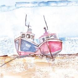 Postkarte Coastal Range Fischerboot 14 x 14 cm