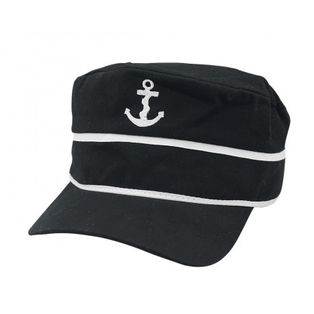 Baseball cap zwart katoen wit anker