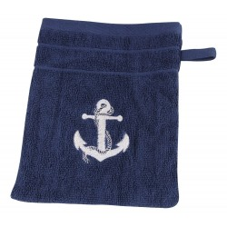 Washcloth blue with white anchor