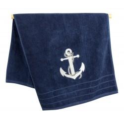 Handdoek blauw met wit anker