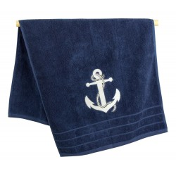 Towel blue with white anchor