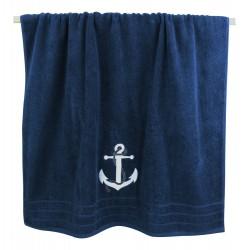 Badhanddoek blauw met wit anker