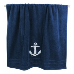 Bathtowel blue with white anchor