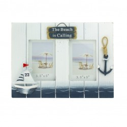 """Photo frame with sailing boat """"The beach is calling"""""""