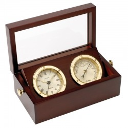 Clock and Barometer set in wooden box
