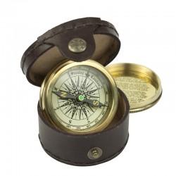 Kompas in leren etui
