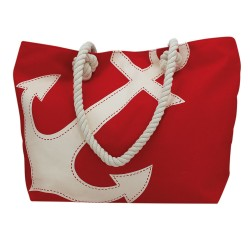 Strandtas rood met wit anker
