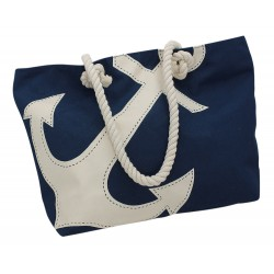 Beach bag blue with white anchor