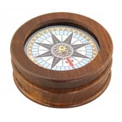 Kompass mit Glas und Holz