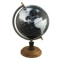 Globe - zwart - antiek messing - 20 cm